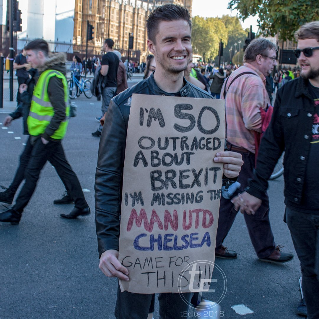 2018 People's Vote March - Man Utd vs Chelsea Protestor
