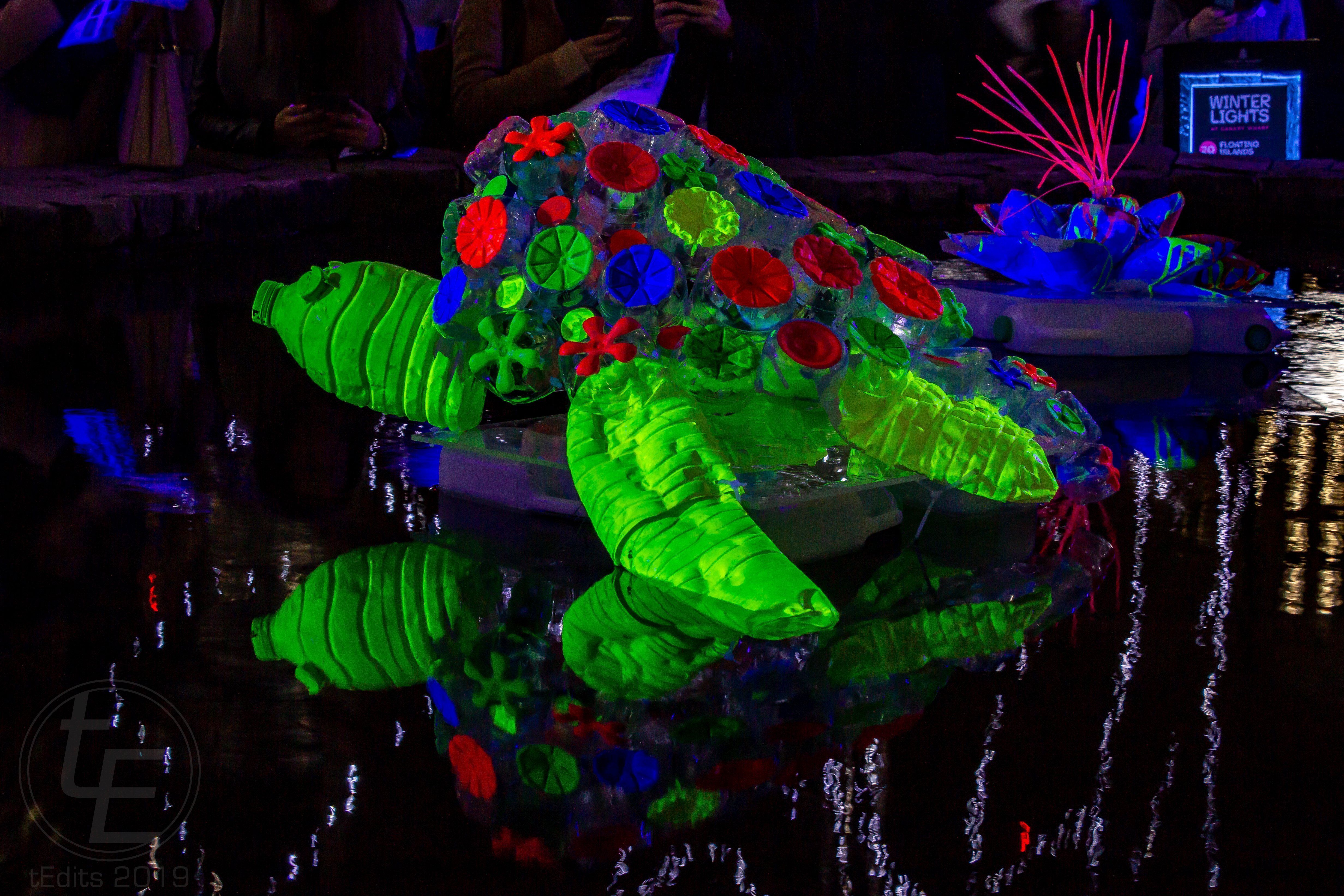 Canary Wharf Winter Lights 2019 - Floating Islands, Murude Mehmet, Turtle