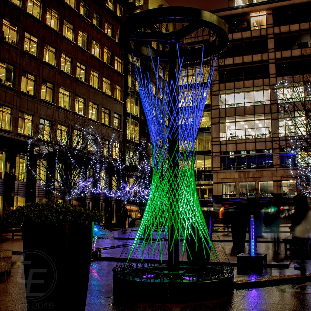 Canary Wharf Winter Lights 2019 - Time And Tide, Paul And Pute