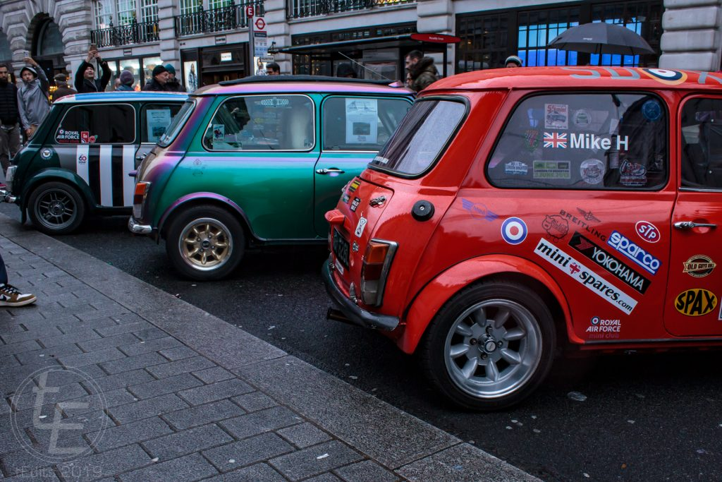 Mini Coopers from the RAF Mini Club - Regent Street Motor Show 2019