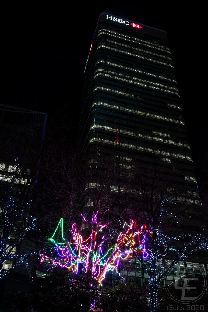 Canary Wharf Winter Lights 2020 - Neon Tree & HSBC
