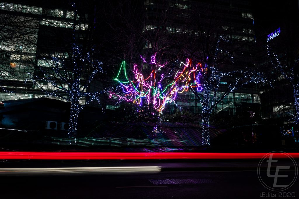 Canary Wharf Winter Lights 2020 - Neon Tree by Hawthorn