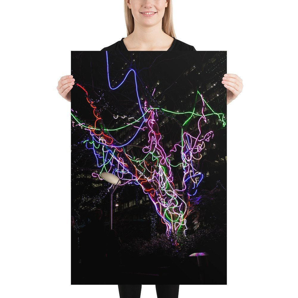 Neon Tree by Hawthorn 2 | Canary Wharf Winter Lights 2020 | Poster