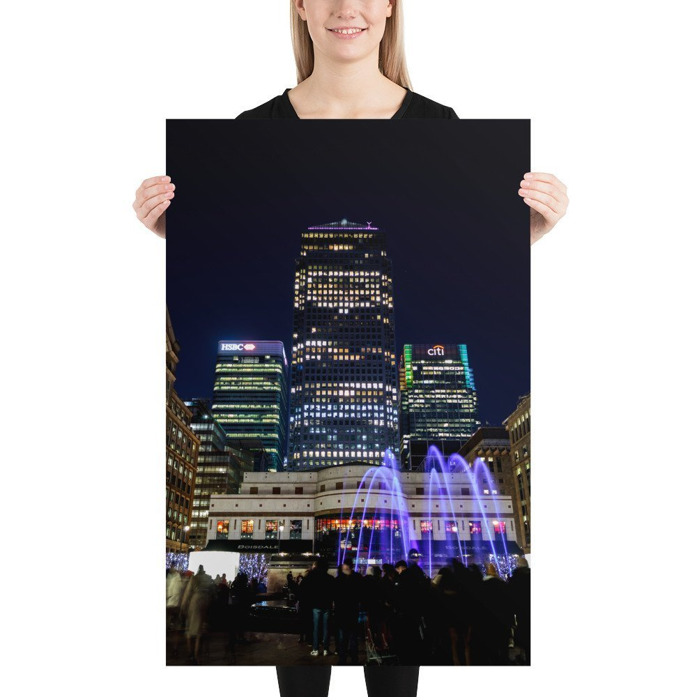 Liquid Sound, Cabot Square, by Entertainment Effects UK | Canary Wharf Winter Lights 2020 | Poster