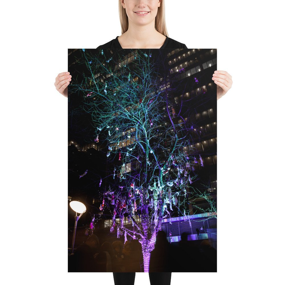 The Bra Tree for Breast Cancer Now | Canary Wharf Winter Lights 2020 | Poster