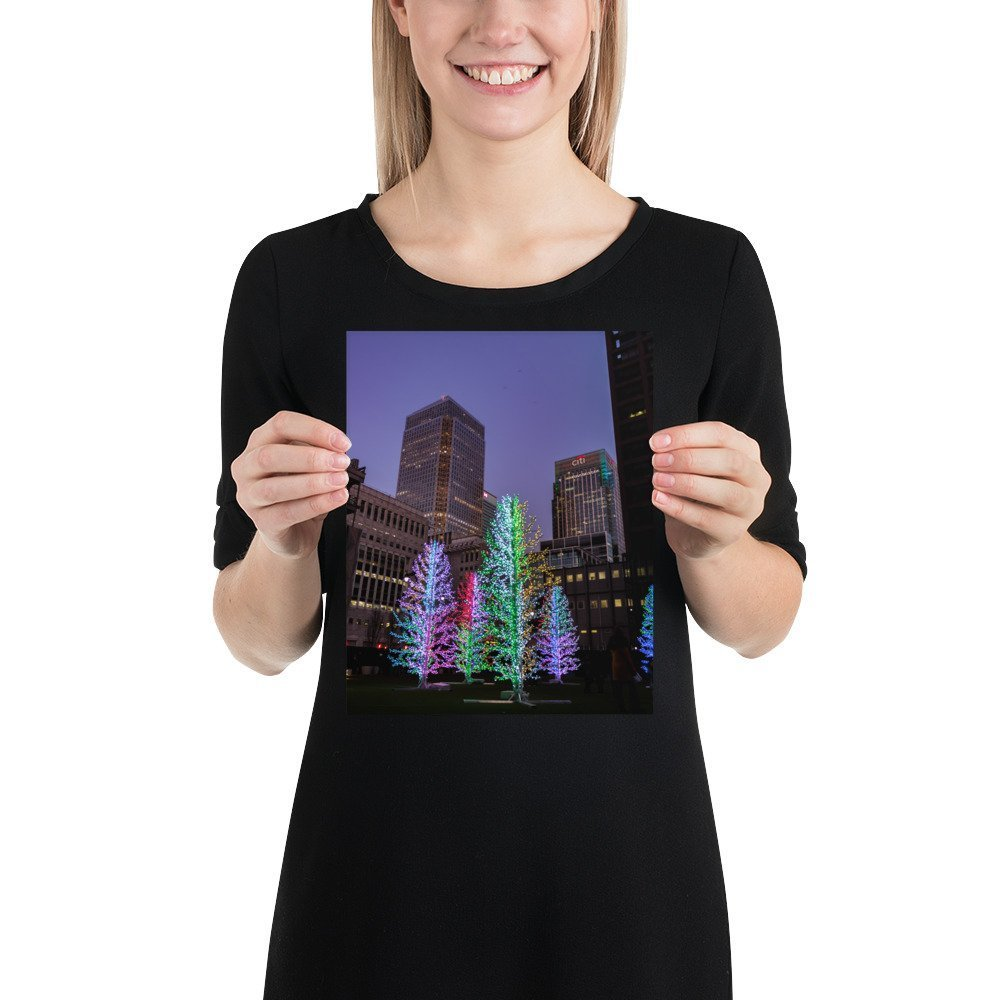 Sasha Trees by Adam Decolight | Canary Wharf Winter Lights 2020 | Poster