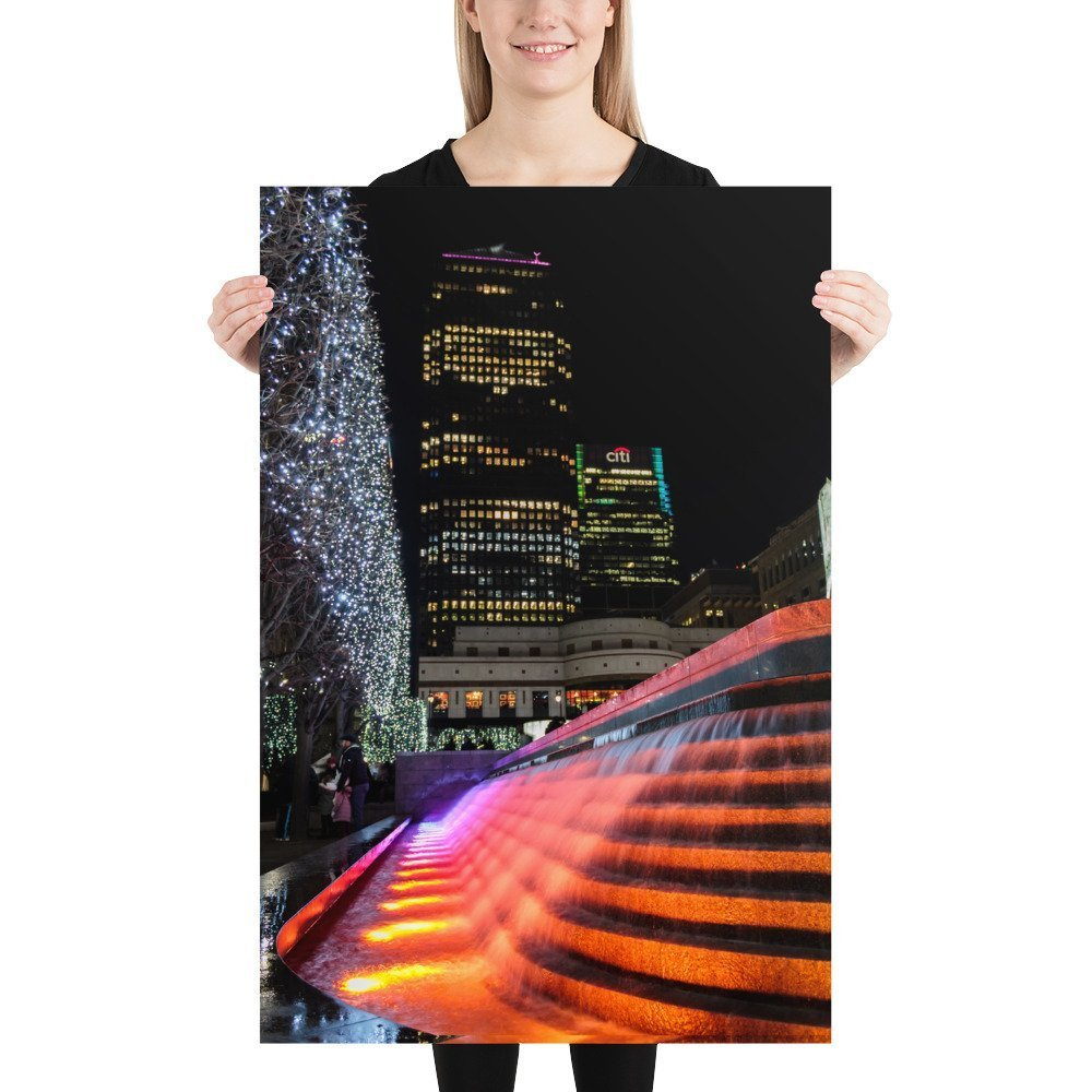 Liquid Sound, Cabot Square, by Entertainment Effects UK 2 | Canary Wharf Winter Lights 2020 | Poster