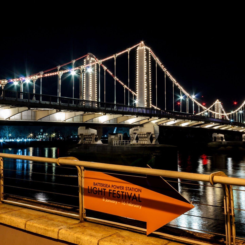Battersea Power Station Light Festival - Chelsea Bridge